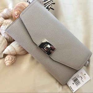 NWT Michael Kors Cassie Pearl Grey Leather Wallet